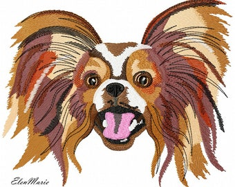 Machine Embroidery Design - Dog Papillon  Embroidery dog  6*8, 7*8, 8*10