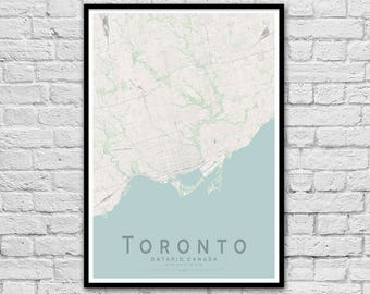 TORONTO Canada City Street Map Print | Travel Print | Travel Nursery Decor | Wall Art | A3 A2 | Housewarming Gift | Minimalist Wall Art