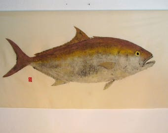 Original Amberjack Gyotaku Direct method print