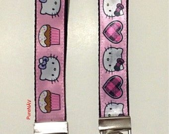 Key FOB/Hello Kitty inspired Key Fob/ key chain/ wristlet key fob/ gift for her/ Mother's Day