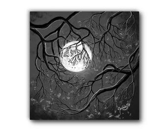 Small Giclée - Canvas Print - Acrylic Painting - Surrealism - Tree Holding Moon - Palladium - Contemporary Art - by Jasmine Star