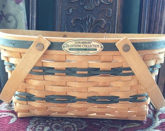 "Authentic Longaberger Basket, with liner, like New, 15"" x 13"" x 6 1/4"""