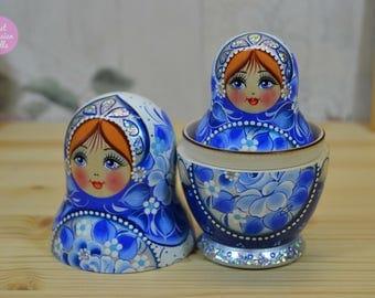 Russian nesting doll, Gift for woman, Handmade matryoshka in blue and white decor, Handpainted babushka, Gift for her, Wooden art dolls,