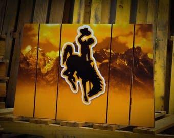 Wyoming Outline Bucking Horse Logo