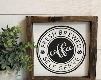 Coffee Bar Sign- Coffee Sign- Fresh Brewed Coffee- Farmhouse Sign- Farmhouse Decor- Coffee Decor