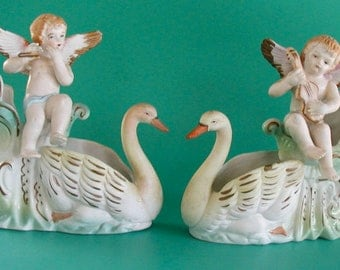 SPRING SALEVintage Figurines Swans Cherubs Occupied Japan Planters Bisque Set of 2