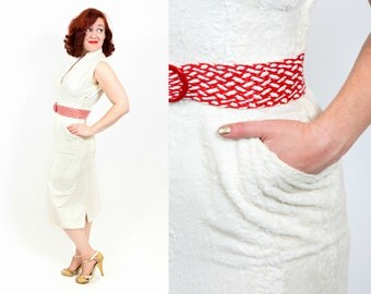 Layaway - Do Not Buy - 1950s Pure White Faux Fur Dress - Small
