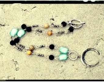 Silver Cresent Choker - Hammered Cresent Pendant//Black Lava Rock//Aqua Chinese Crystal//Yellow Jasper//Czech Beads - Linked Stone/Beads