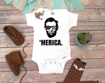 4th of July Onesie®, 4th of July Baby Outfit, 'Merica Onesie, Abraham Lincoln Baby Bodysuit, America Onesie, Funny Fourth of July Shirt