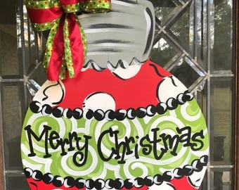 Merry Christmas ornament door hanger Ornament door hanger Christmas ornament door sign