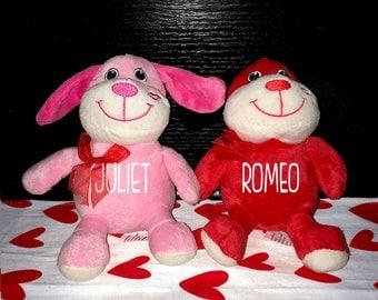 Personalized Valentines Plush Dog