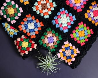 Black Crocheted Throw with bright multicolored squares