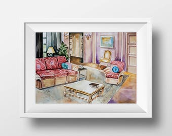 Wall Art Watercolor Golden Girls Living Room Print,Golden Girls Apartment,90s sitcom,Tv Show Poster,Digital Print,Printable