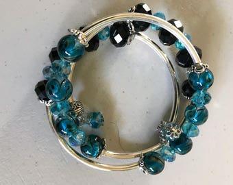 Lampwork bead memory wire bracelet.