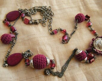 """Necklace """"Baba"""", wood, textile, Plum, old silver"""