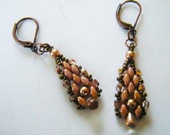 Pink beaded earrings copper drop