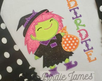 Cute Witch applique design - Girly Halloween designs - embroidery and applique files for pes jef dst sew Girl Nice witch embroidery design