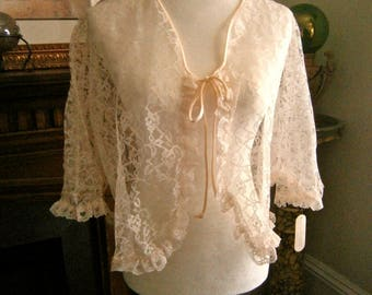 Vintage Pearl's & Lace Bed jacket