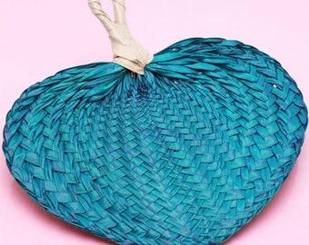 10 pcs DIY Turquoise Palm Hand Fans