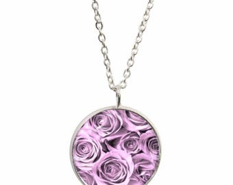 Pink rose pendant etsy pink roses pendant and silver plated necklace audiocablefo light ideas