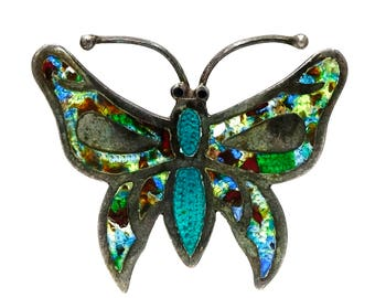 Sterling And Colorful Enamel Butterfly Pin By JF Taxco Mexico