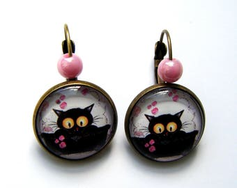 Earrings sleepers black cat and pink bubbles