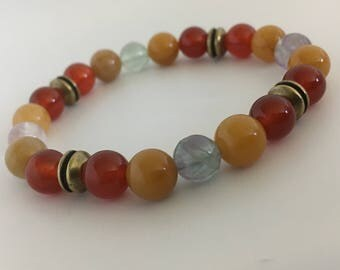 Enjoy Gemstones Energy Bracelet Self-care Colds Beaded Bracelet Healthy Goals Lungs Allergies Illness Gift for Her Gift for Him Blood Bones