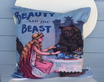 Beauty And The Beast Cushion, Vintage Beauty and the Beast Pillow