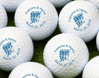 He Took a Shot She Said Yes Personalized Golf Balls - Bulk Price Available (MIC-JM8818535)