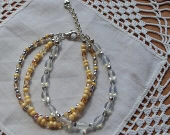 Gemstone bracelet, three-row, Moonstone,