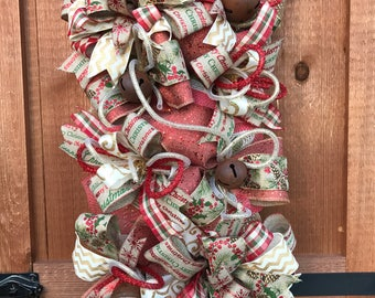 Rustic Christmas Door swag wreath with Gold and Red