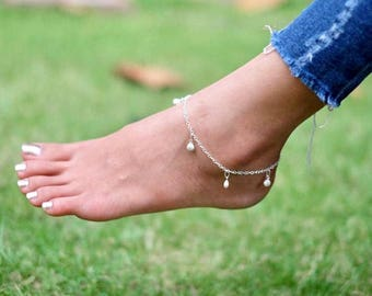 Silver Sea Shells Anklet, Sterling Silver Anklet, Minimalist Silver Anklet, Simple Anklet, Beach Wear, Bohemian Anklet,Foot Chain, AS116