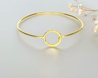 Circle Bracelet, Gold Dipped Silver Bracelet, Feminine Silver Bracelet, Wrist Bangle, Gifts For Her, Pretty Bracelet, Silver Cuff, BS(48)