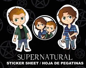 Supernatural Fanart STICKER Sheet - Sam & Dean Winchester stickers - stickers