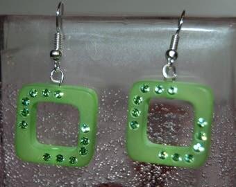 Earrings rhinestone swarovski polaris Green
