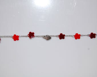 Bracelet sequin enamel epoxy, red and Burgundy with heart charm