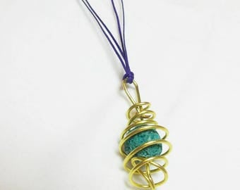 Handmade necklace made of bronze wire and lava (in a variety of colors)