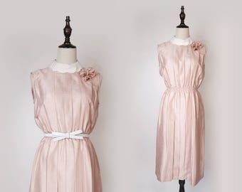 Pink Vintage Women Pleated Dress 1980s Peter Pan Collar Short Sleeves Size M