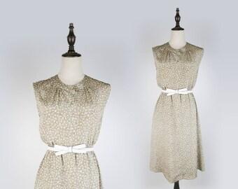 Leaf Print Round Collar Sleeveless Green Vintage Women Dress Size M