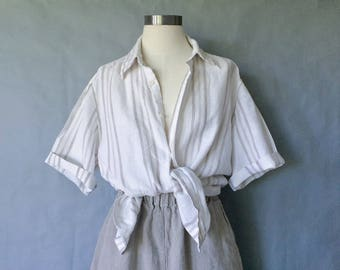 100% linen minimalist button down short sleeve stripe blouse/shirt/top