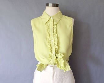 Vintage silk blouse/sleeveless blouse/button down blouse/ ruffle blouse/silk shirt women's size S/M/L