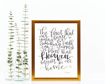 C. S. Lewis // 8 x 10 print // hand lettered // home decor // calligraphy // quote