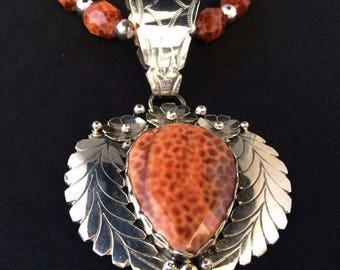 Navajo Silver and Brazilian Fire Agate Necklace/Pendant Signed Dabbs *ST533
