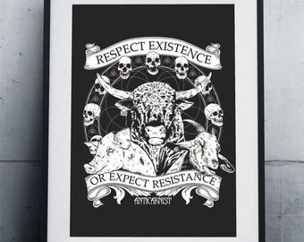 Respect Existence Or Expect Resistance Vegan Art Print Poster by Anticarnist