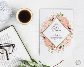 Bridal Shower Invitation, Watercolor Bridal Shower Invitation, Floral Bridal Shower Invitation, Bridal Brunch, Calligraphy Invitation, #PRG