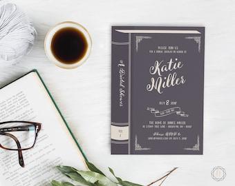 Bridal Shower Invitation, Book Themed Bridal Shower, Literary Bridal Shower Invitation, Bridal Brunch, Library Card Invitation, #LCS