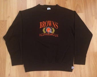 Large vintage Cleveland Browns men's crewneck sweatshirt brown orange Logo 7 emboidered NFL Football