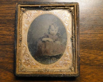 """Young Child Ambrotype - Half Case - 3 1/8"""" X 3 5/8"""" - Very Old - Nice Find!!"""
