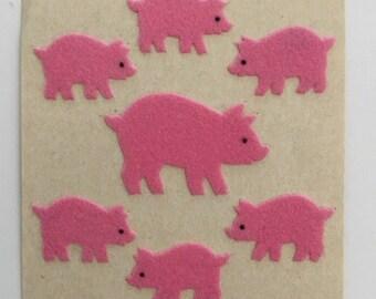 Vintage Sandylion Fuzzy Pink Pig Stickers