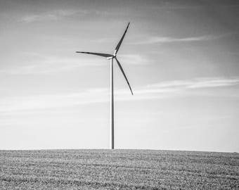 Wind Turbine Photography - Windmill - Black and White - Neutral Wall Art - Fields -  Monochrome -  Fine Art Photography